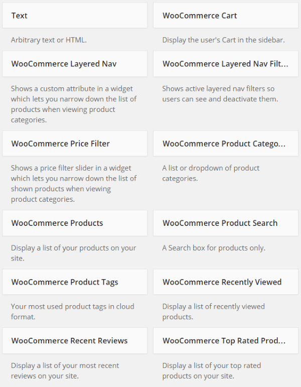 Building an Online Store with WooCommerce - Widgets