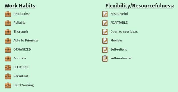 Work Habits & Flexibility/Resourcefulness