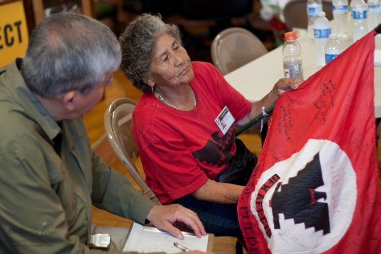 Woman talking about her UFW flag.