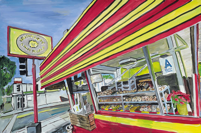"""Bob Dylan's """"Donut Shop, 2015–2016."""" Acrylic on canvas, 83.8 x 121.9 cm. 