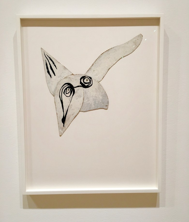 "LOUISE BOURGEOIS (American, born France. 1911–2010) Self-Portrait as Bird 1945 Oil and ink on cut board with rivets 13 3/16 × 13 3/16"" (33.5 × 33.5 cm) Gift of Jan Christiaan Braun in honor of Kathleen S. Curry 1267.2016"