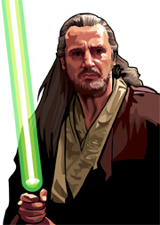 Qui Gon Jinn Foil-For Topps Star Wars Galaxy 5 My Star wars Art was featured in a 15 card FOIL subset. These were considered chase cards. Each card was printed on Bronze, Silver, Gold and Prismatic Foil.