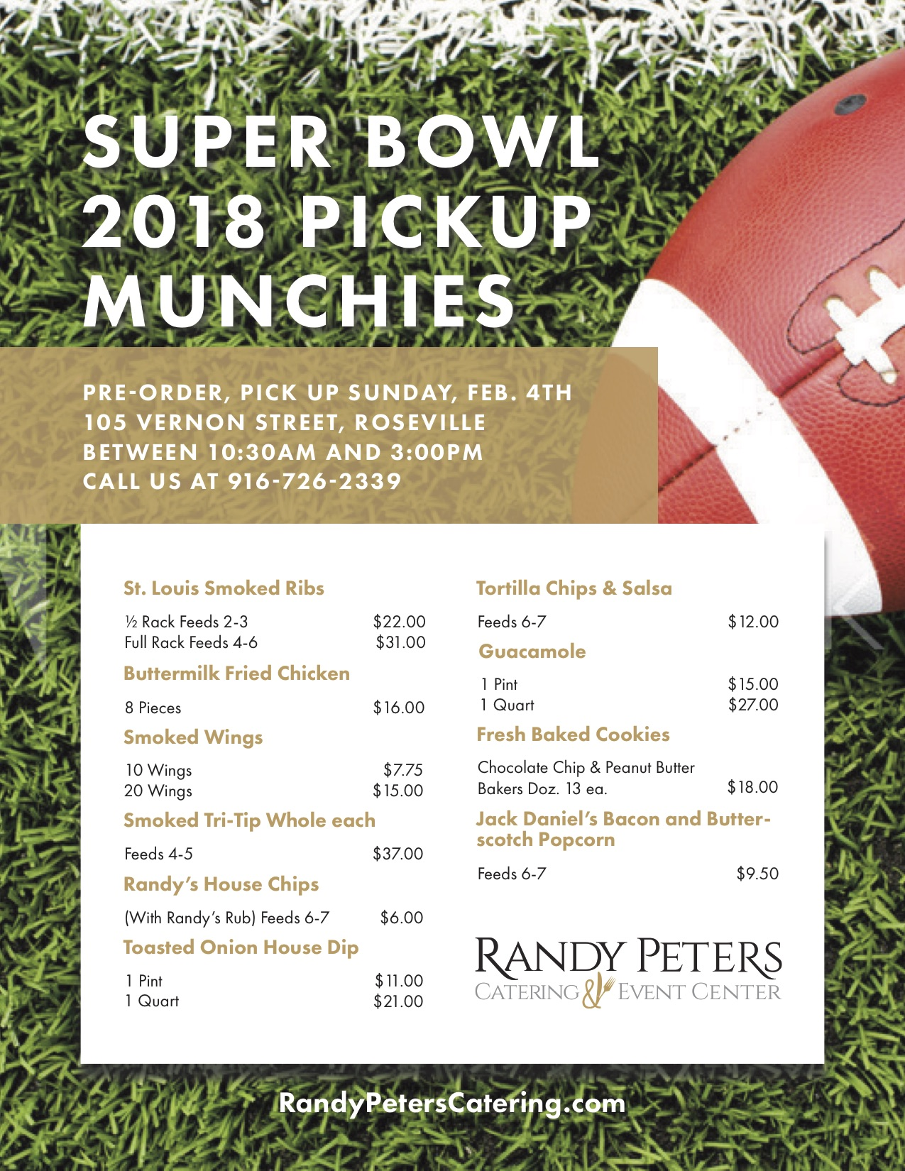Discover Randy Peters Catering's Super Bowl Catering menu.
