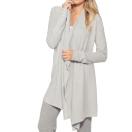 Barefoot Dreams Cozychic Lite Calypso Wrap, Heathered Pewter / Pearl