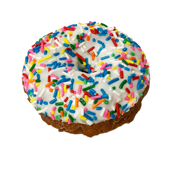Randy's Funfetti Cake Donut with Ganache and Rainbow Sprinkles