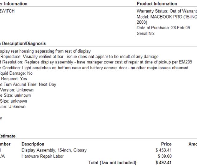 Em209 Mac Repair Order