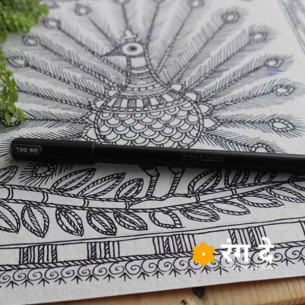 Pentonic Gel Pen, black Waterproof Pens Buy online from Rang De Studio, Best used for calligraphy, lettering, sketching, illustrations.