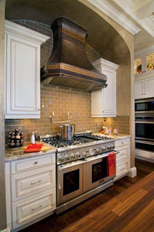 beautiful copper range hood