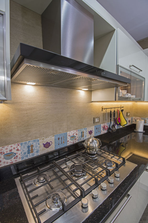 Modern kitchen cooker hob in a luxury apartment
