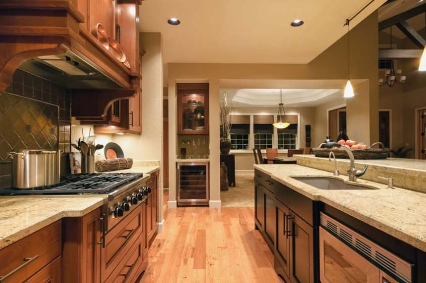 beautiful, large kitchen interior in new luxury home