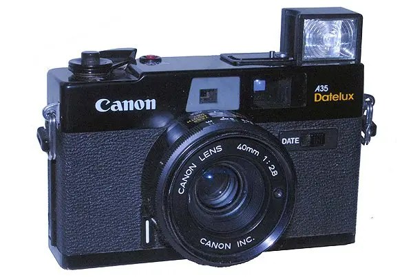 Canon A35 Datelux with the flash in the raised position.