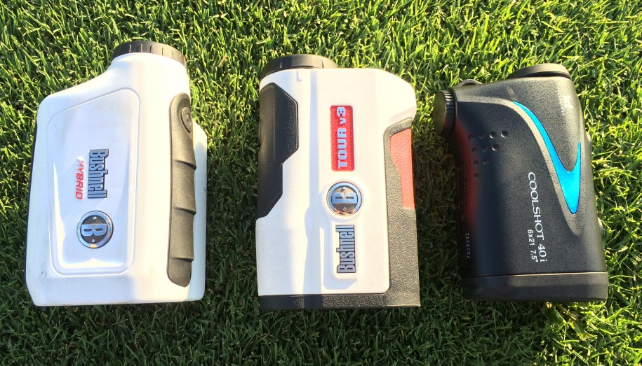 Golf Rangefinders from field test including Bushnell Tour V3