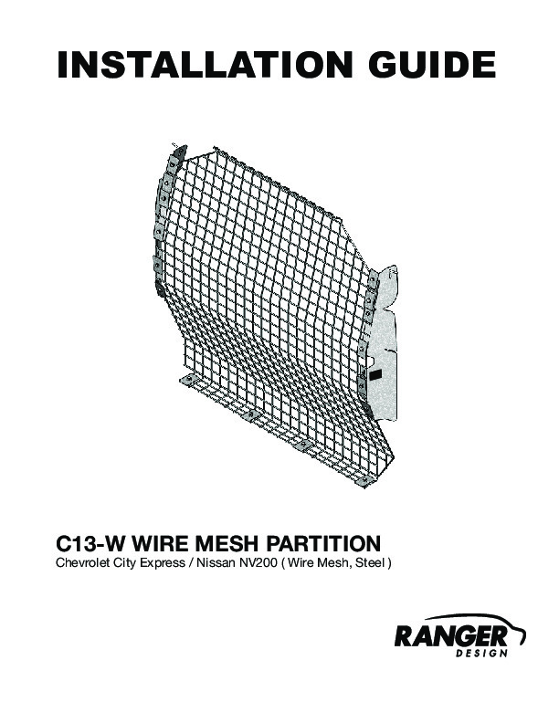 Contoured Wire Mesh Van Partition, Steel, Nissan NV200