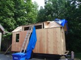Roof sheathing near completion