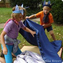 Kids building blanket nest