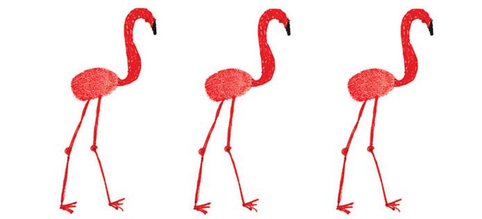 thumbprint flamingos