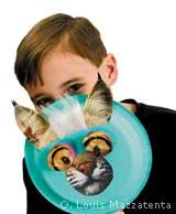 Boy with wild fan
