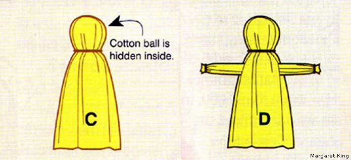 Corn husk doll step 2