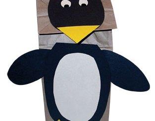 Paper bag penguin puppet
