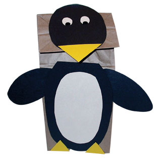 Paper bag penguin puppet