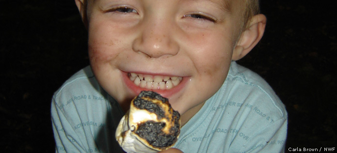 boy with marshmallow