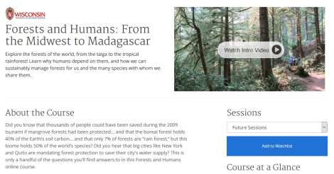 Forests and Humans course from UW Madison