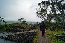 Kurt at an existing coastal bach with an associated boat ramp, Rangitoto Wharf