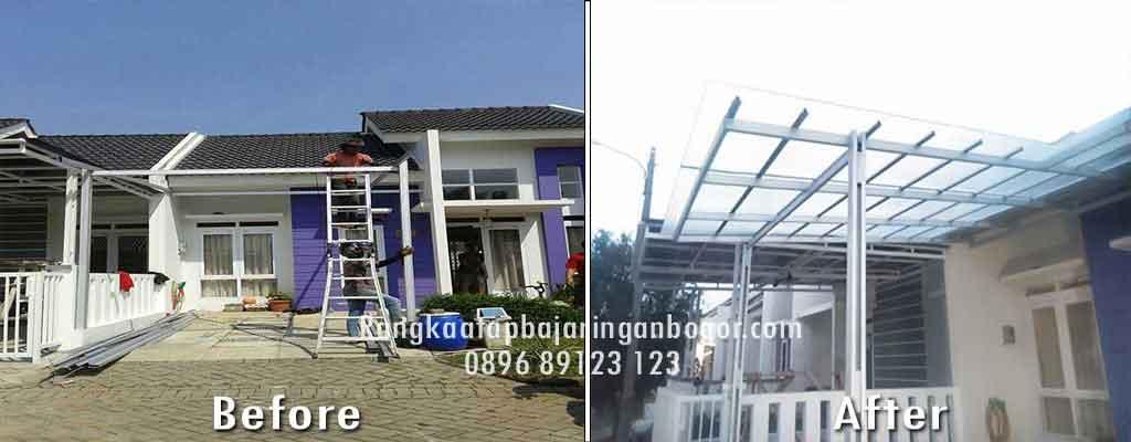 kanopi baja ringan bogor pemasangan di rangka atap