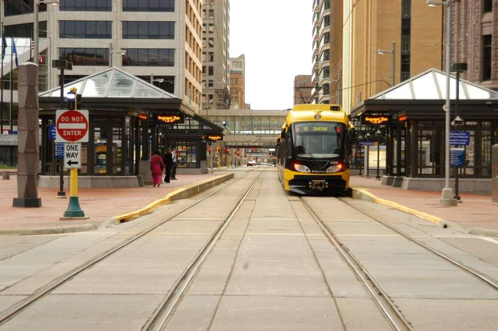 Hiawatha Light Rail on track stopped in Minneapolis
