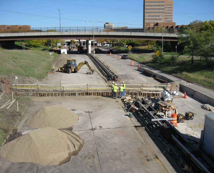 road under construction for METRO Transit Green Line Transportation and Land Survey project