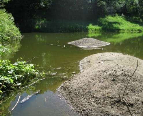 pond with large rocks