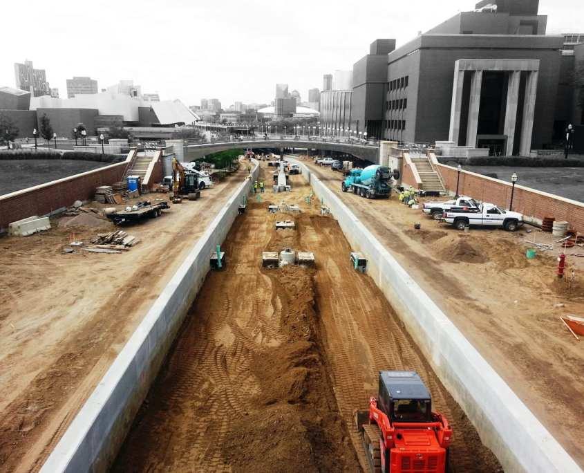 construction of light rail track through the university of minnesota