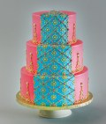 I love the stripe of turquoise just like a dupatta - Cakeworks in Calgary