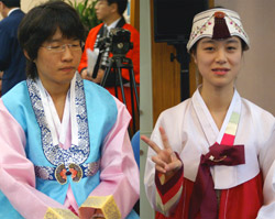 Hong Seok-ui (left) and Kim Shin-young (right)