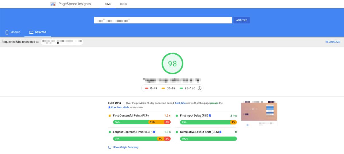 Risultato di Google Page Speed