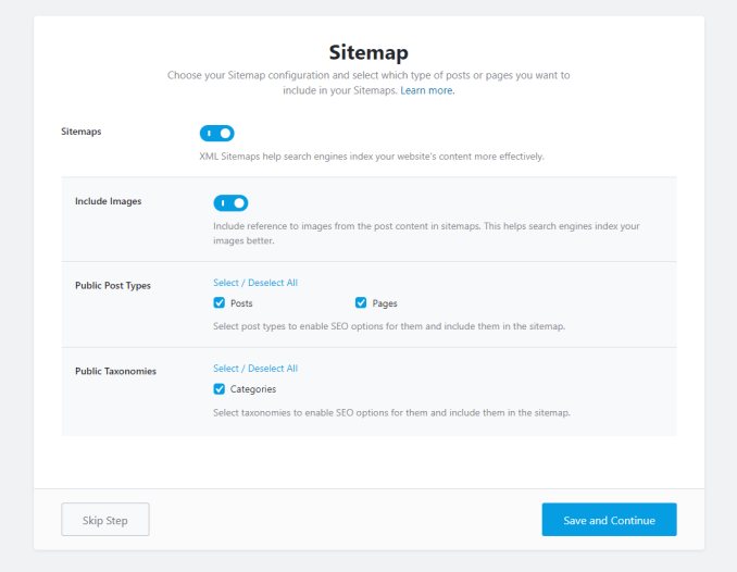 All The Options In The Sitemap Step