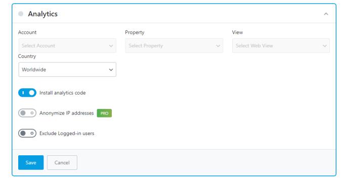Analytics Options When Installing Code