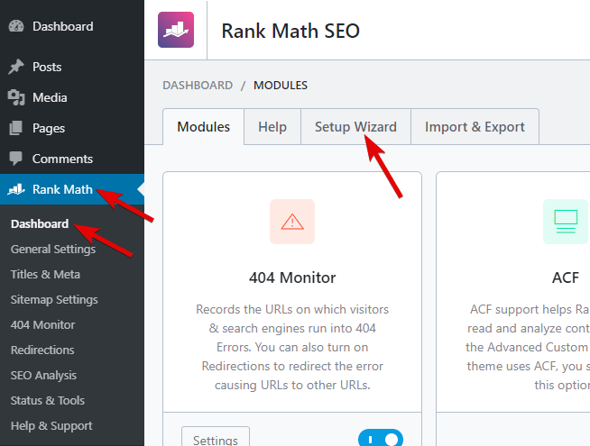 How To Access Setup Wizard In Rank Math