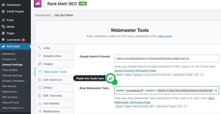 Paste the Bing Verification Code in Rank Math