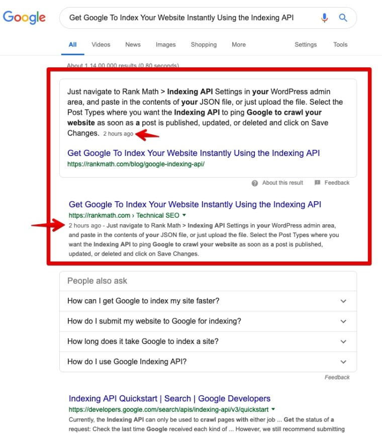 Google's Featured Snippet using Indexing API