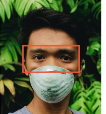 Image showing face detection for a subject wearing a mask