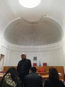 One of the five courtrooms at the Israeli Supreme Court. Israeli courts do not use juries; at the left side of the courtroom is a box reserved for press.