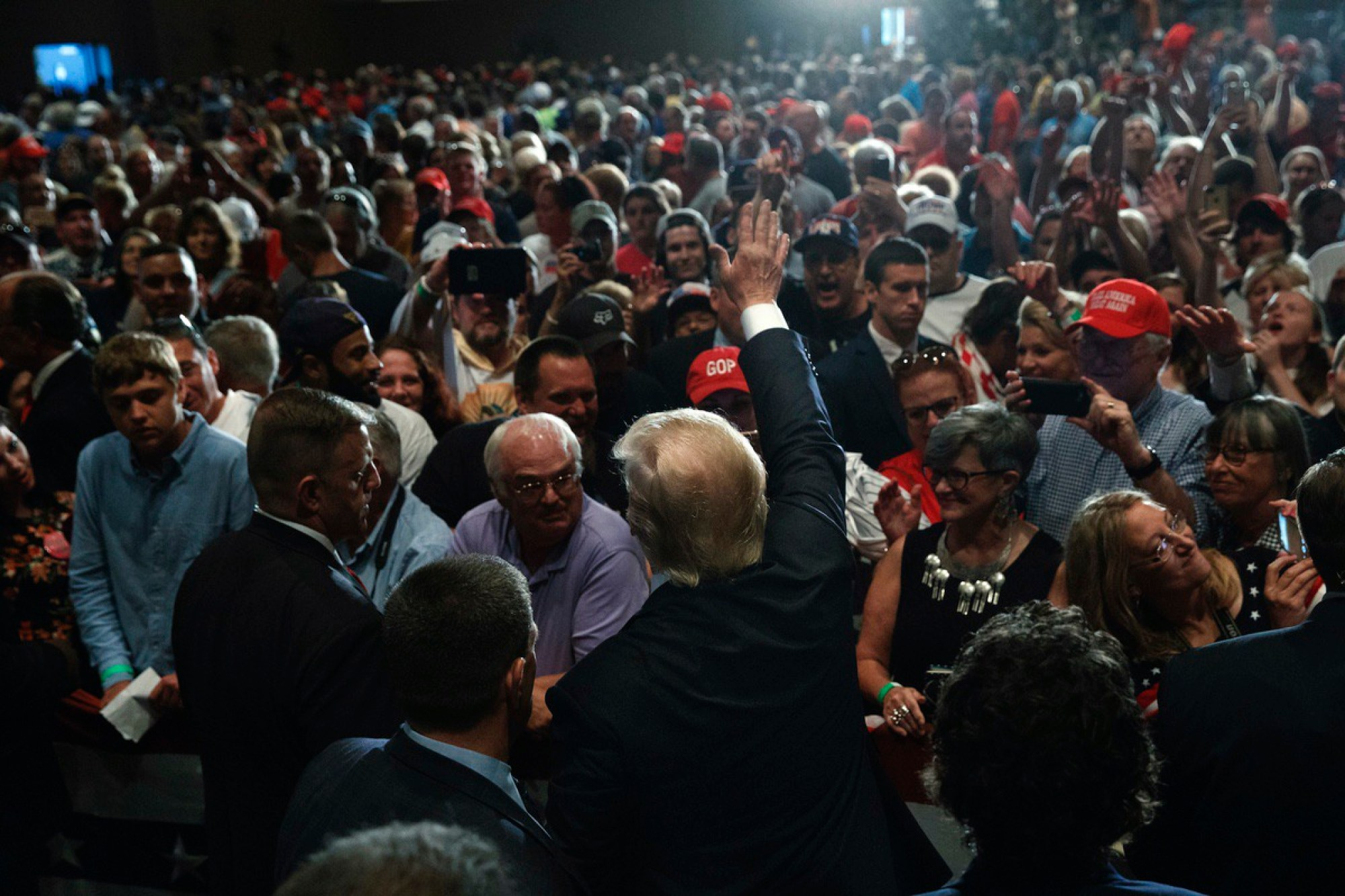 Donald Trump waves as he leaves a campaign rally, Friday, Aug. 12, 2016, in Altoona, Pa. (AP Photo/Evan Vucci)