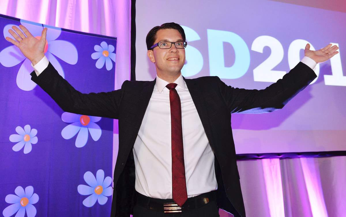 Sweden Democrats Party leader Jimmie Åksesson celebrates at the election night party in Stockholm, Sweden. Sunday, Sept. 14, 2014 file photo (AP Photo/News Agency TT, Anders Wiklund, File) SWEDEN OUT