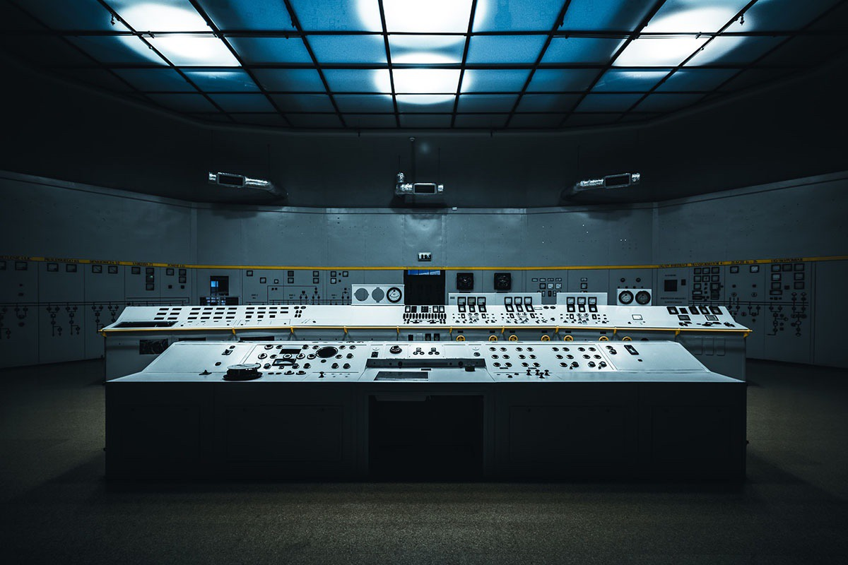 abandoned utility control room