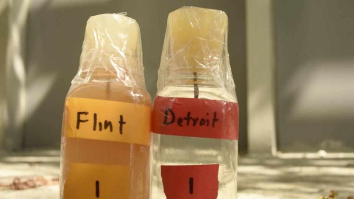 A comparison between the water from the Flint River and the Detroit River. (ACLU)