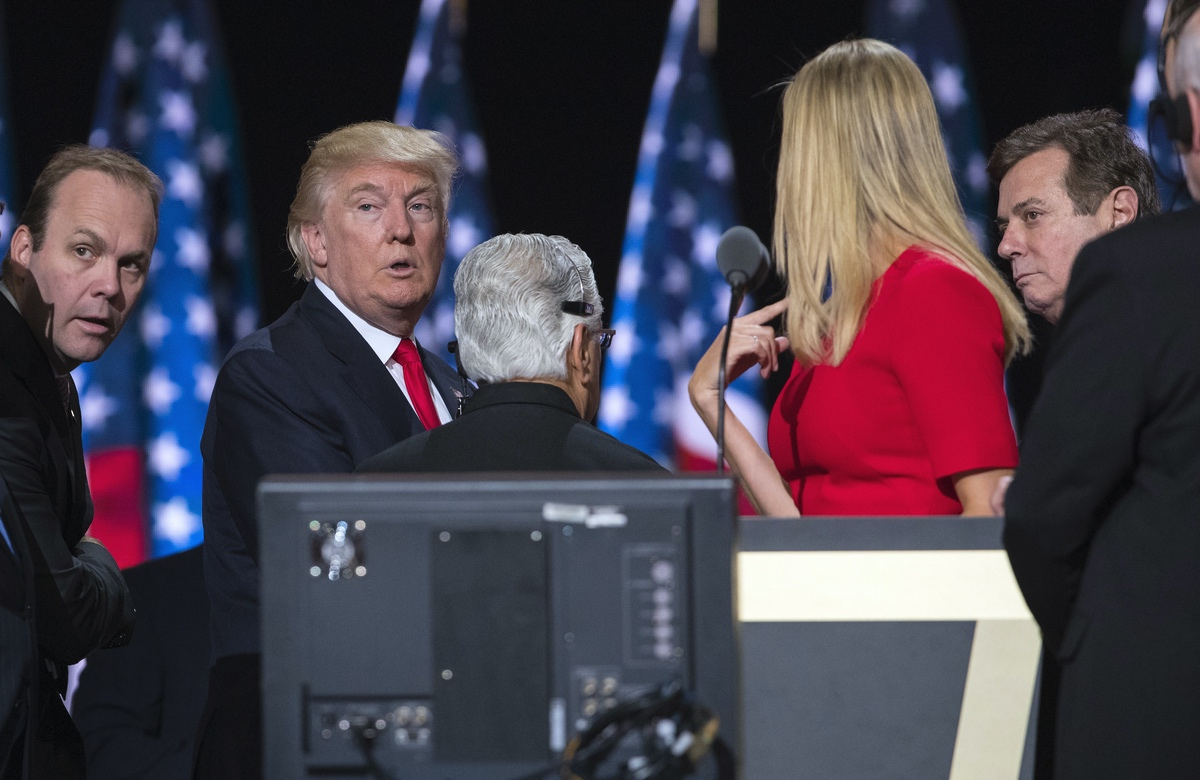 From left: former Deputy Campaign Chairman Rick Gates, Donald Trump, daughter Ivanka Trump, and former Campaign Chairman Paul Manafort at the Republican National Convention, Thursday, July 21, 2016, in Cleveland. (AP Photo/Evan Vucci)