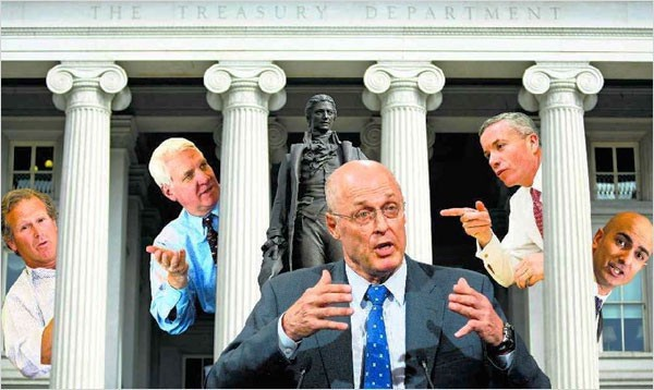 Treasury faces, from left: Steve Shafran (formerly of Goldman), Kendrick Wilson III (ditto), Henry Paulson Jr. (you guessed it), Edward Forst (yep) and Neel Kashkari (see a trend?) – (From The New York Times)