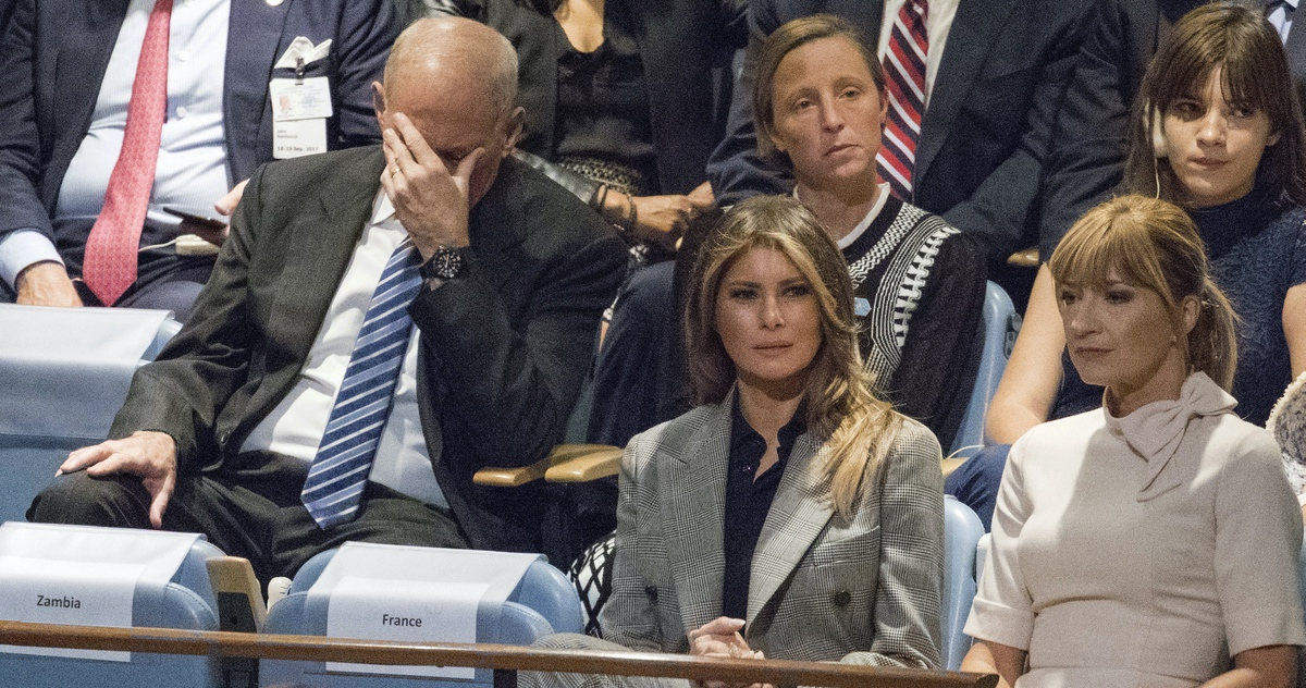 White House Chief of Staff John Kelly, left, reacts as he and First Lady Melania Trump listen to U.S. President Donald Trump speak during the 72nd session of the United Nations General Assembly at U.N. headquarters, Tuesday, Sept. 19, 2017. (AP Photo/Mary Altaffer)