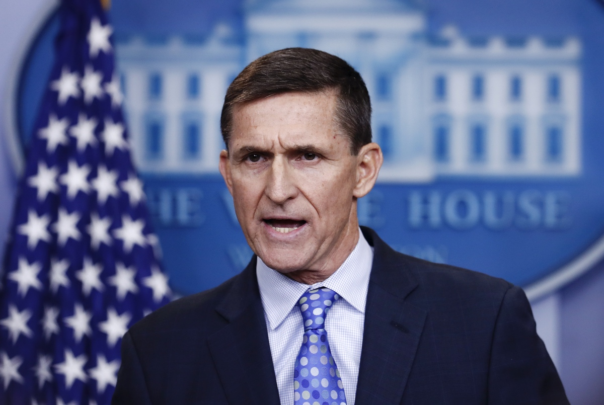 FILE - In this Feb. 1, 2017 file photo, National Security Adviser Michael Flynn speaks during the daily news briefing at the White House, in Washington. Trump says his former national security adviser is right to ask for immunity in exchange for talking about Russia. (AP Photo/Carolyn Kaster)